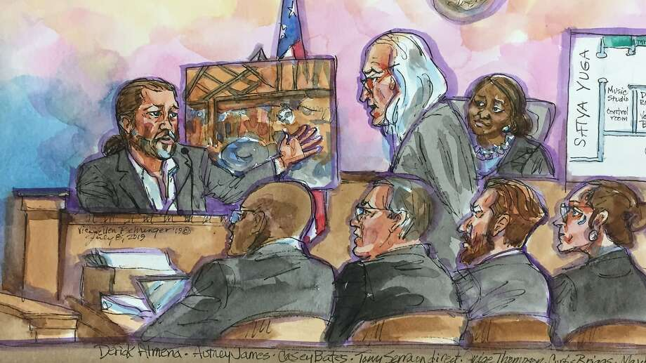 A courtroom sketch of the Derick Almena, top left, as he answers questions from his Defense Attorney Tony Serra, top center,  as Judge Trina Thompson, top right, listens on at the Rene C. Davidson Courthouse in Oakland, Calif., on Monday, July 8, 2019. Almena faces involuntary manslaughter charges stemming from the 2016 Ghost Ship blaze that killed 36 people during a music show. Seated in the foreground from left is Alameda County Deputy District Attorney Autrey James, Alameda County assistant district attorney Casey Bates, Attorney Curts Briggs, and Defendant Max Harris. Photo: Vicki Behringer / Special To The Chronicle