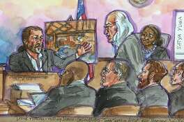 A courtroom sketch of the Derick Almena, top left, as he answers questions from his Defense Attorney Tony Serra, top center, as Judge Trina Thompson, top right, listens on at the Rene C. Davidson Courthouse in Oakland, Calif., on Monday, July 8, 2019. Almena faces involuntary manslaughter charges stemming from the 2016 Ghost Ship blaze that killed 36 people during a music show. Seated in the foreground from left is Alameda County Deputy District Attorney Autrey James, Alameda County assistant district attorney Casey Bates, Attorney Curts Briggs, and Defendant Max Harris.