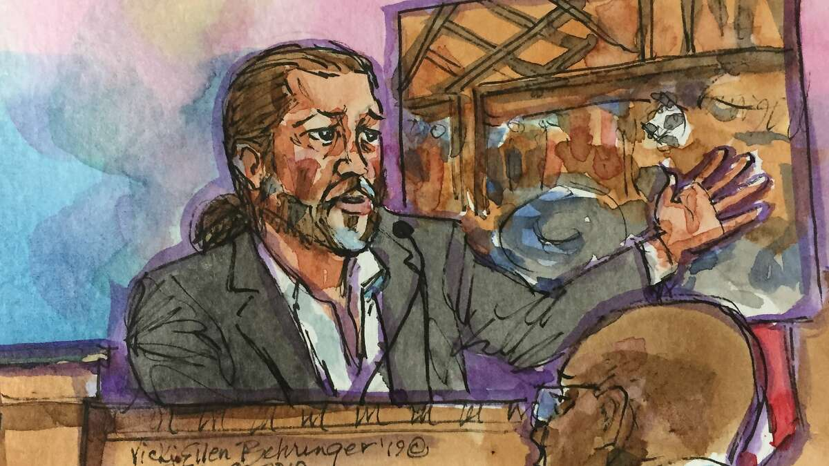 A courtroom sketch of the Derick Almena as he answers questions from his defense attorney Tony Serra at the Rene C. Davidson Courthouse in Oakland, Calif., on Monday, July 8, 2019. Almena faces involuntary manslaughter charges stemming from the 2016 Ghost Ship blaze that killed 36 people during a music show.