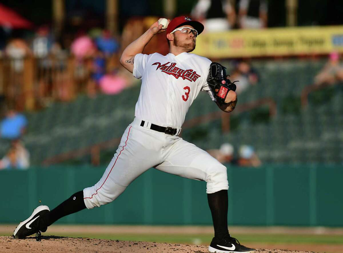 Tri-City ValleyCats pitcher Kyle Serrano throws the ball during a baseball game against the Brooklyn Cyclones at Joe Bruno Stadium on Monday, July 8, 2019 in Troy, N.Y. (Lori Van Buren/Times Union)