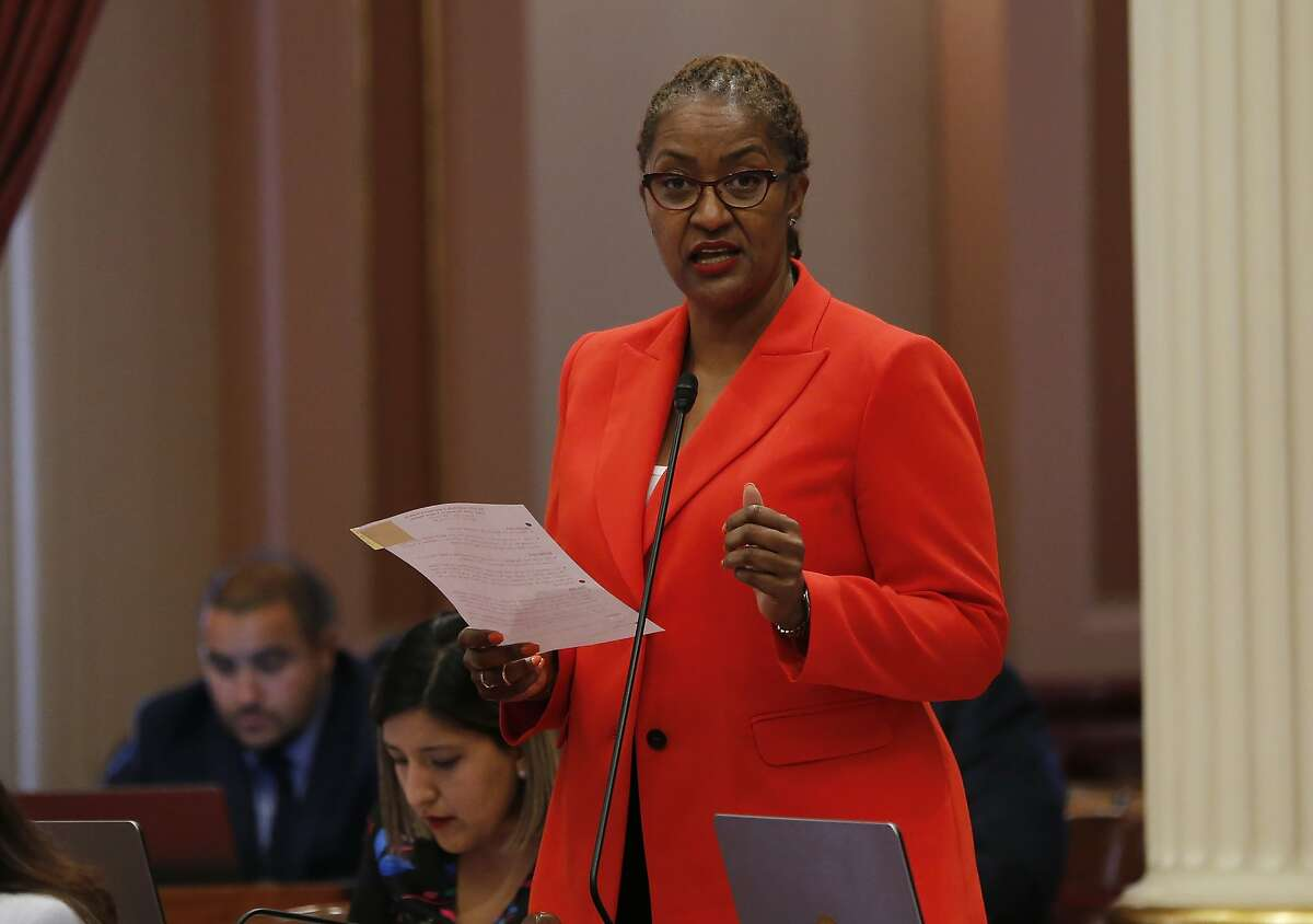 California State Sen. Holly Mitchell, D-Los Angeles, urges lawmakers to approve a measure to deal with California's housing crunch during the Senate session in Sacramento, Calif., Monday, July 1, 2019. The Senate approved the bill that provides more than $650 million to address housing and homelessness while setting up a process to punish cities that consistently flouts the state's housing policies. (AP Photo/Rich Pedroncelli)