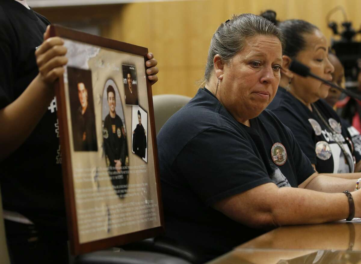 Leticia Barron, whose son, Mauricio Barron, died after being shot by a California Highway Patrol Officer in Irvine, pauses while testifying in support of a police use of force bill, at the Capitol in Sacramento, Calif., Tuesday, June 18, 2019. The Senate Public Safety Committee approved the bill AB392, by Assemblywoman Shirley Weber, D-San Diego, that would bar police from using lethal force unless it is necessary to prevent imminent threat of death or serious injury to themselves and others. It still needs approval by the full Senate. (AP Photo/Rich Pedroncelli)