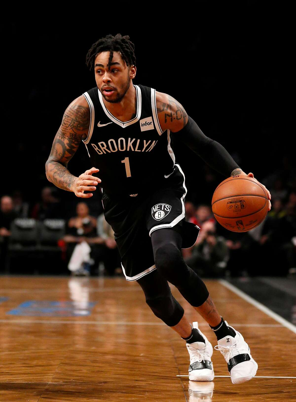 D'Angelo Russell #1 of the Brooklyn Nets in action during an NBA basketball game against the Philadelphia 76ers on November 25, 2018 at Barclays Center in the Brooklyn borough of New York City. Philadelphia won 127-125.