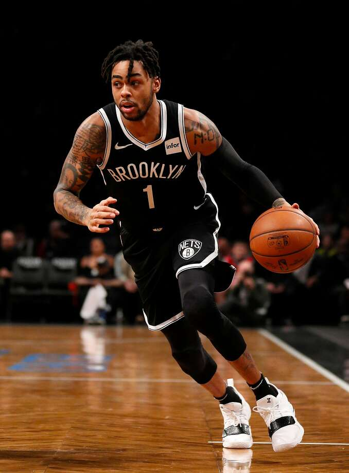 D'Angelo Russell #1 of the Brooklyn Nets in action during an NBA basketball game against the Philadelphia 76ers on November 25, 2018 at Barclays Center in the Brooklyn borough of New York City. Philadelphia won 127-125.  Photo: Paul Bereswill / Getty Images