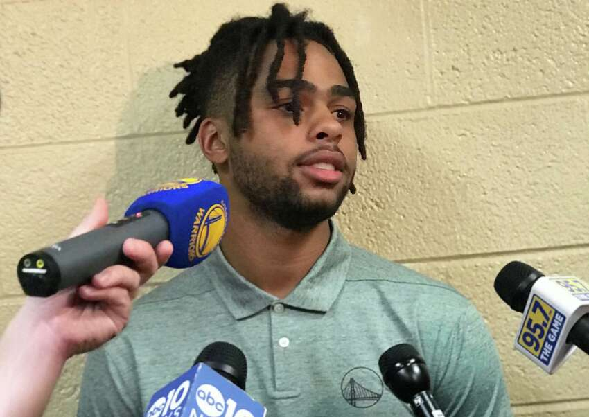 New: D'Angelo Russell D'Angelo Russell was traded to the Golden State Warriors with Shabazz Napier and Treveon Graham for Kevin Durant and a protected first round pick in a deal that kicked off the 2019 NBA free agency season. Russell, a point guard, was drafted second overall in the 2015 NBA Draft by the Los Angeles Lakers after playing a year at Ohio State University. There were high expectations for him when he was drafted and he made the NBA All-Rookie team in 2016, but he was traded to the Brooklyn Nets after suffering knee and calf injuries in his second season in the league. In Brooklyn, he experienced a bump in productivity and had the best season of his career in 2018-19, averaging 21.1 points, seven assists and 3.9 rebounds a game while making his first NBA All-Star game and leading the Nets to their first playoff season since the 2014-15 season and the team's first winning season since the 2013-14 season. Russell, who has a four-year, $117 million max contract with the Warriors, is expected to start in the Dubs' back court with Steph Curry while Klay Thompson heals from a torn ACL. There are rumors that he could be traded after Thompson returns, and Russell is aware of the rumors.