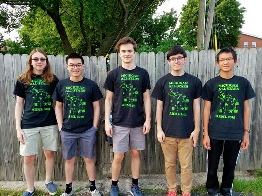 From left, Gabe Puzio of Clarkston, Andrew Zhou of Midland, Leo Shelp of Cedar, Camil Suciu of Grand Rapids and Maxim Li of Okemos compete with the Michigan All-Stars Math Team. (Photo provided)