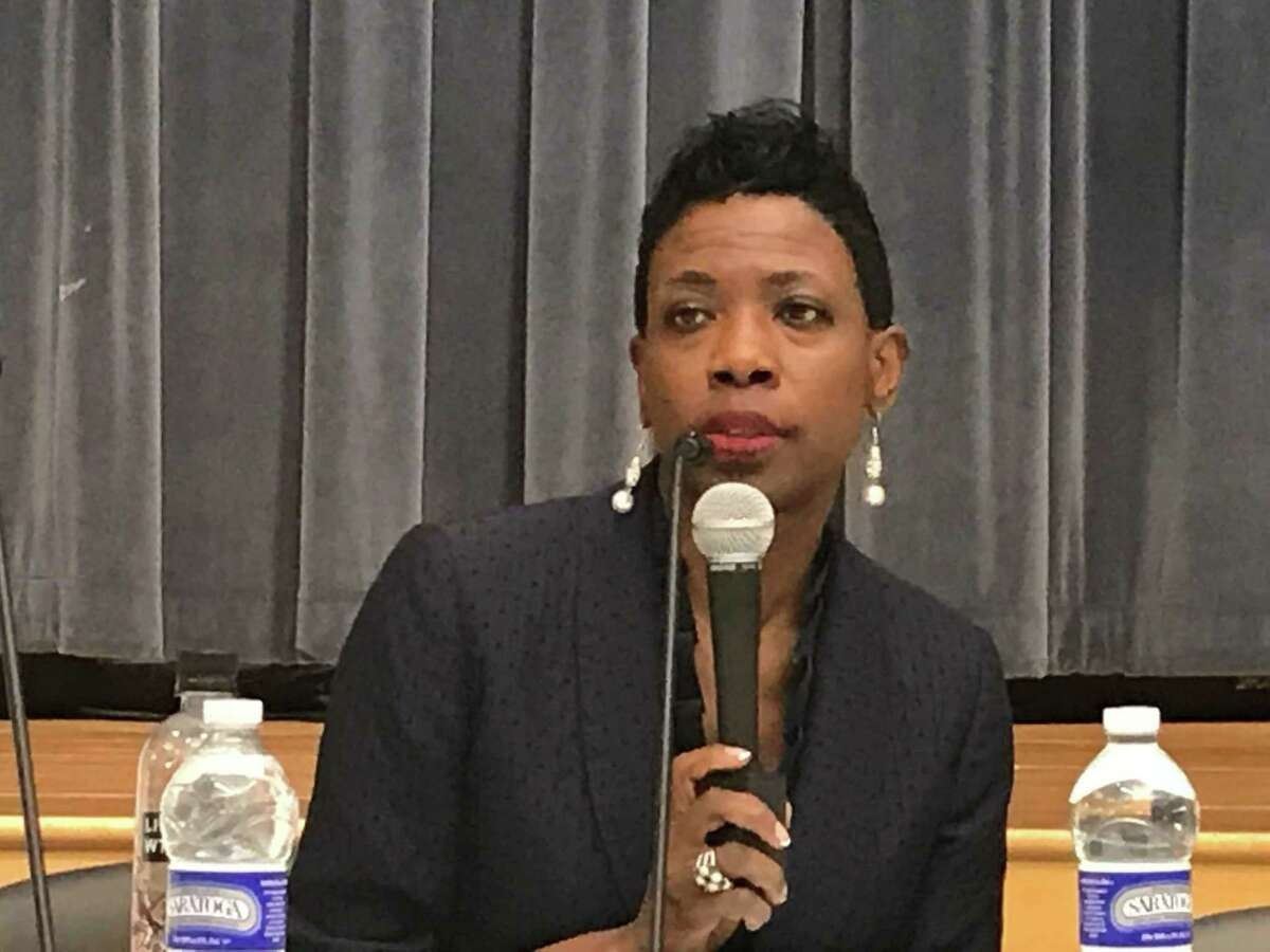 Superintendent of Schools Carol Birks at a July 8, 2019 Board of Education meeting.