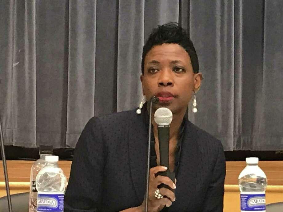 Superintendent of Schools Carol Birks at a July 8, 2019 Board of Education meeting. Photo: Brian Zahn/Hearst Connecticut Media