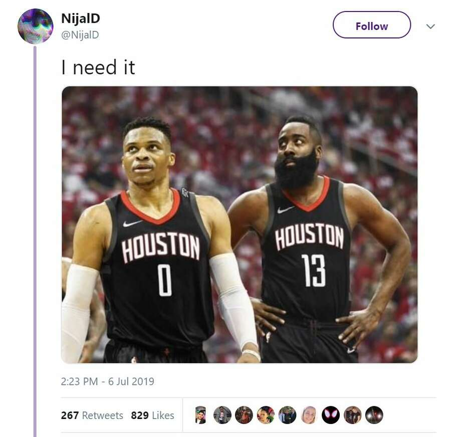 Twitter users had a wide swatch of reactions amid reports that the Rockets are attempting to trade for Thunder guard Russell Westbrook. Photo: Twitter