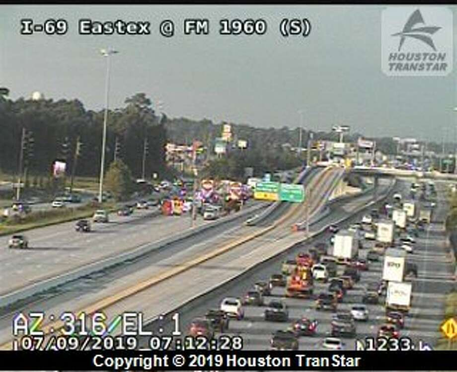All northbound lanes of the Eastex Freeway are cloesd after a crash Tuesday, July 9, 2019. Photo: Houston TranStar