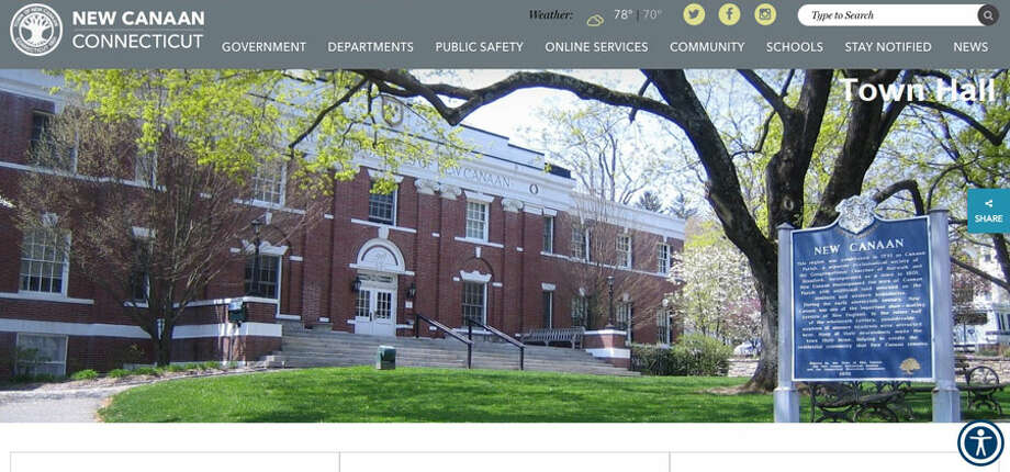The Town of New Canaan's new website is easily accessible. Information about commissions like Planning and Zoning, and boards like the Board of Selectmen, along with details about other town committees and departments, is across the top of the digital avenue, a nice change from when they were down on the left side of the site and you had to scroll down, all the way down. The type is bigger too, and everything, including events and news going on around and about town is more visible in the middle of the site as well. It is still at newcanaan.info.Pam Flynn / Town of New Canaan First Selectman Kevin Moynihan's Office / Contributed photo / Connecticut Post
