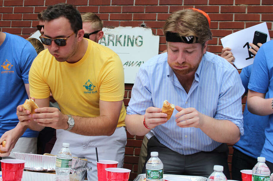 The Make Hot Dogs Great Again hot dog eating contest in New Canaan, Connecticut, on Saturday, June 22, 2019, brought together people from across the country to eat hot dogs, help a friend and raise money for Leader Dogs for the Blind. John Kovach / Hearst Connecticut Media / Connecticut Post
