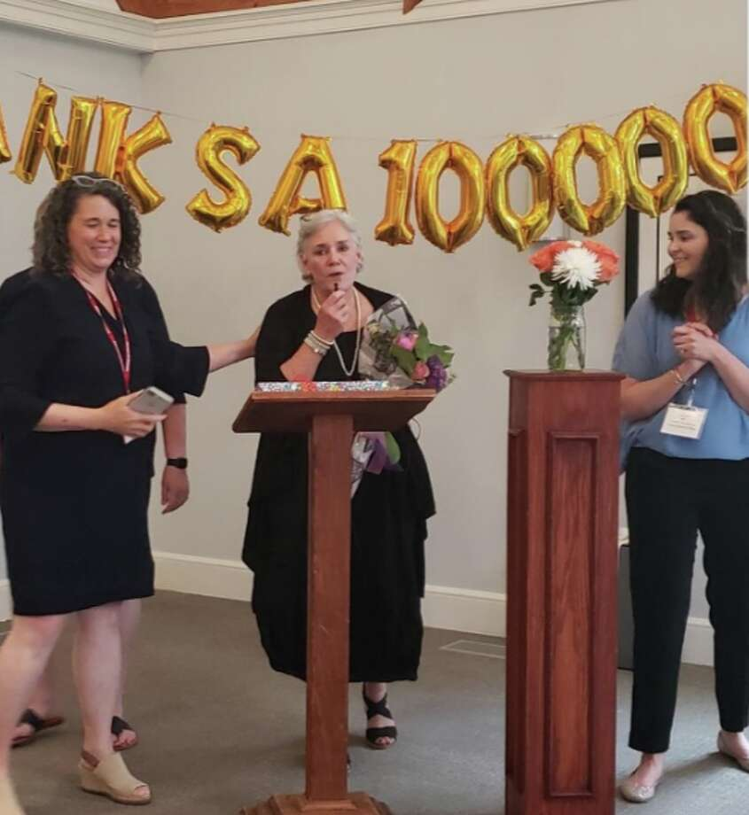 Celebrating Ceci Maher. From left, Tracy Cramer, Ceci Maher, Lauren Franciamore — Sandra Diamond Fox photo