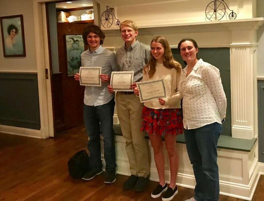 Ridgefield High School Jack Hudson, far left, stands with Dr. Jill Smith-Carpenter, far right, after a chemistry competition at Sacred Heart University in May. Smith-Carpenter was the event's speaker.