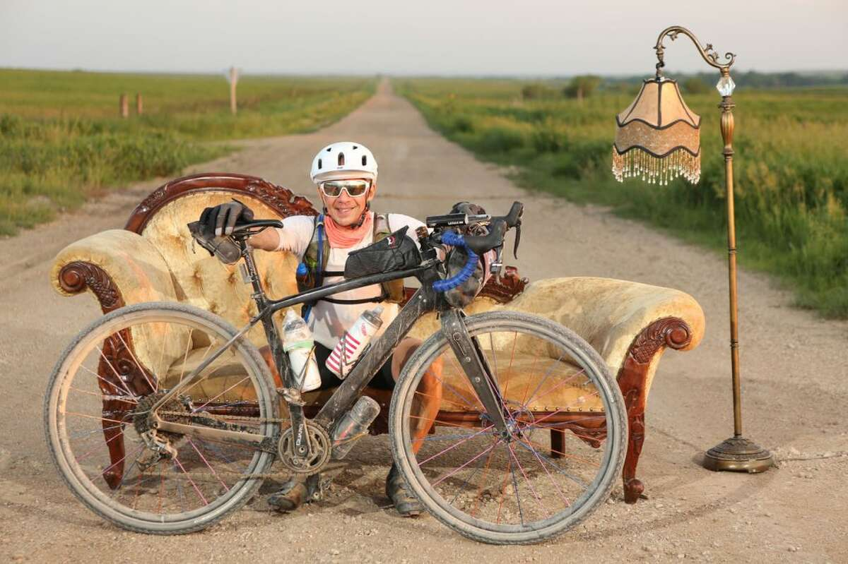 Ridgefield resident Mitch Ancona rode his bike in theDirty Kanza 200 - a 200 mile long ultra-endurance bicyclingchallenge, held on the gravel roads through the Flint Hills region of east-central Kansas. - Scotth Araldson photo