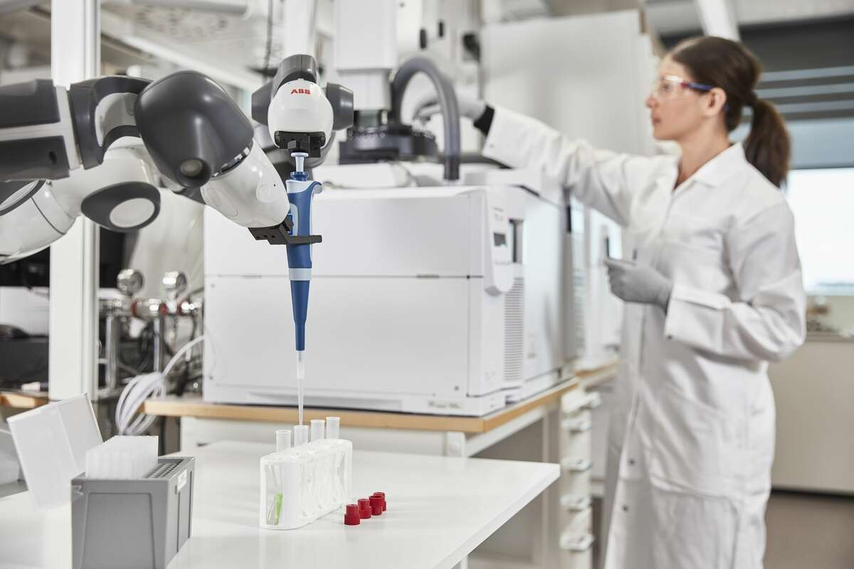 Pictured is an ABB robot. The Switzerland-based company will open a 5,300-square-foot robotics research and development facility at the Texas Medical Center Innovation Institute. Its non-surgical robots could be programmed to do repetitive, time-consuming tasks, such as measuring medications in the proper dosage and assembling sterile instrument kits used by surgeons.