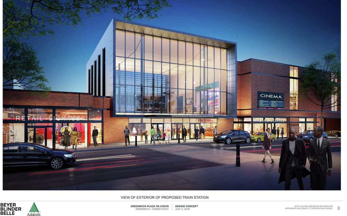 A view of the exterior of the proposed train station for central Greenwich, with new retail options.