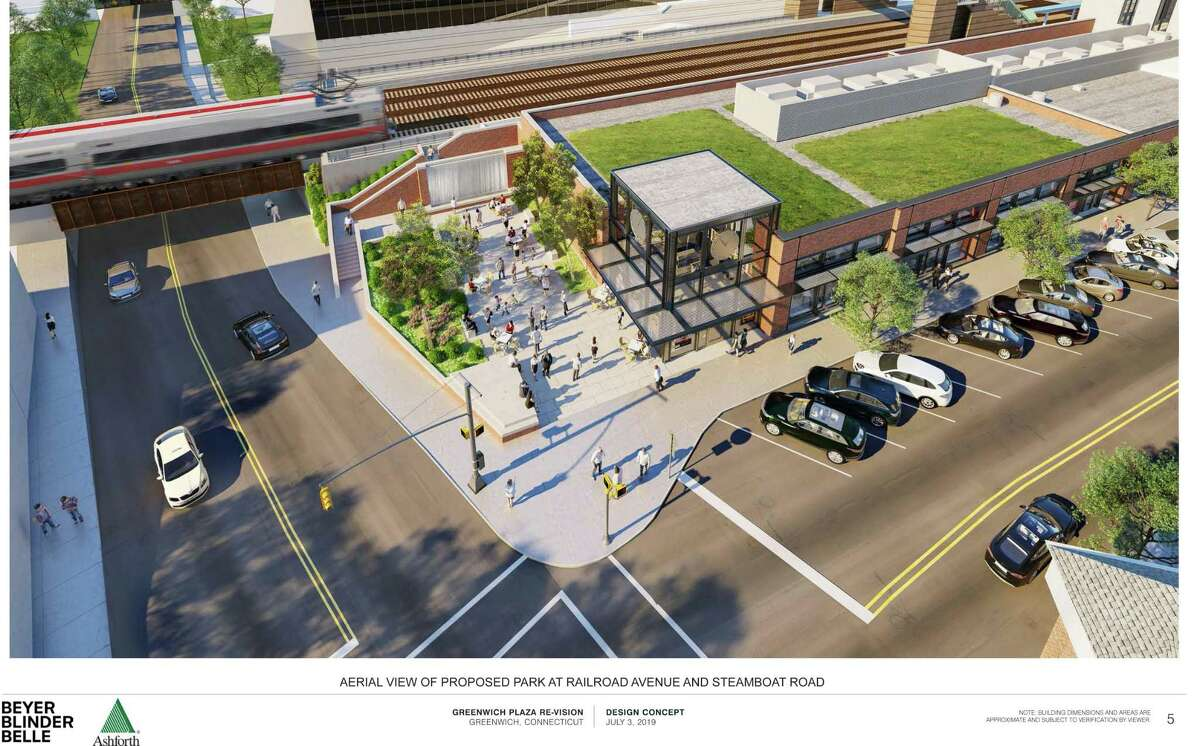 An aerial view of the proposed park at Railroad Avenue and Steamboat Road near the train station in central Greenwich.