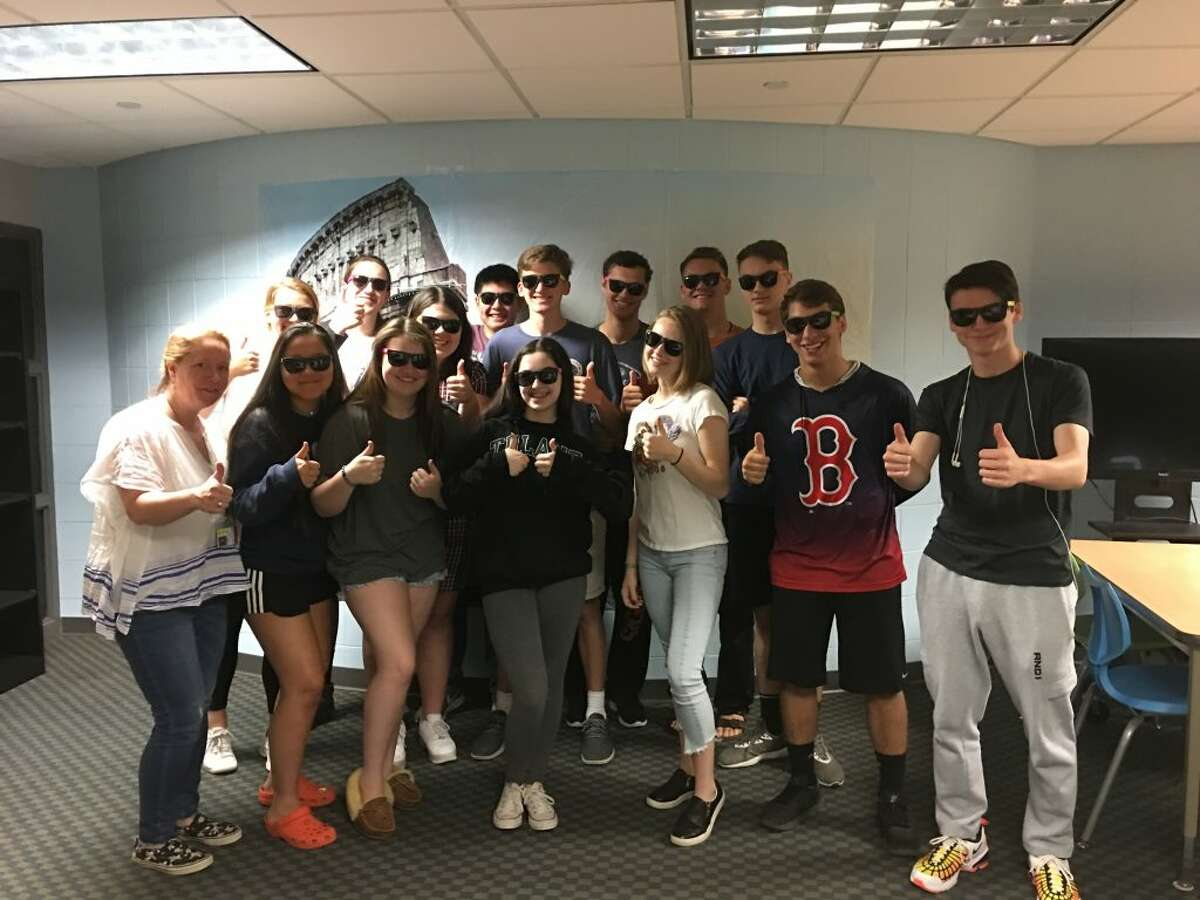 Ridgefield High School Latin III students from Magistra Utsogn's class took an assessment on June 13, 2019 for their final exam. In two teams, they worked on breaking out of an escape room. Working together as a team, applying their knowledge of Latin and patterns (no phones or books allowed), they attempted to conquer the puzzles and escaped victorious.