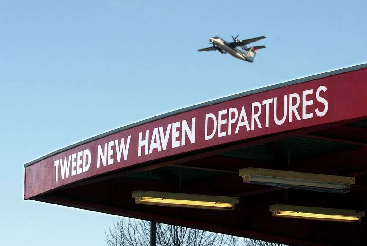 A flight takes off Tweed New Haven Airport