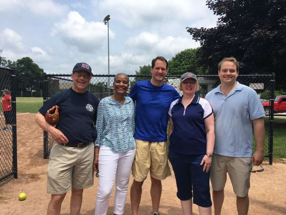 Among the Democrats who turned out for last year's Frivolity Bowl, were, from left, Ross Tartell, Stephanie Thomas, Jim Himes, Deborah McFadden and Doug Stern.