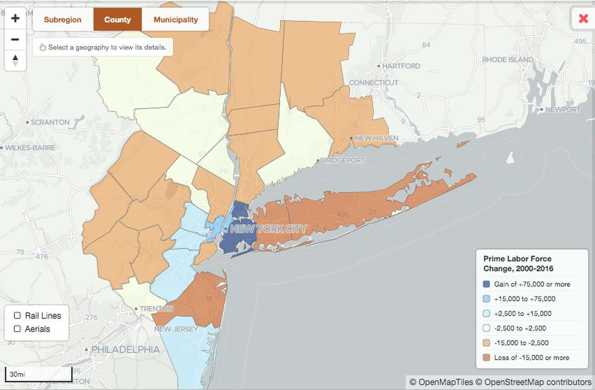 Fairfield County has lost prime-age labor force population.