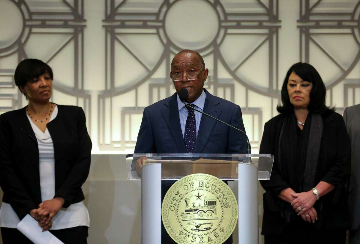 Mayor Sylvester Turner announces a proposed consent decree to improve the city's sanitary sewer system, during a press conference at City Hall Tuesday, July 9, 2019, in Houston.