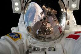 Expedition 59 Flight Engineer David Saint-Jacques of the Canadian Space Agency takes a quick self portrait on April 8, 2019, while working outside the International Space Station. In a six-and-a-half-hour spacewalk, Saint-Jacques and NASA astronaut Anne McClain successfully established a redundant path of power to the Canadian-built robotic arm, known as Canadarm2, and installed cables to provide for more expansive wireless communications coverage outside the orbital complex, as well as for enhanced hardwired computer network capability. (NASA)