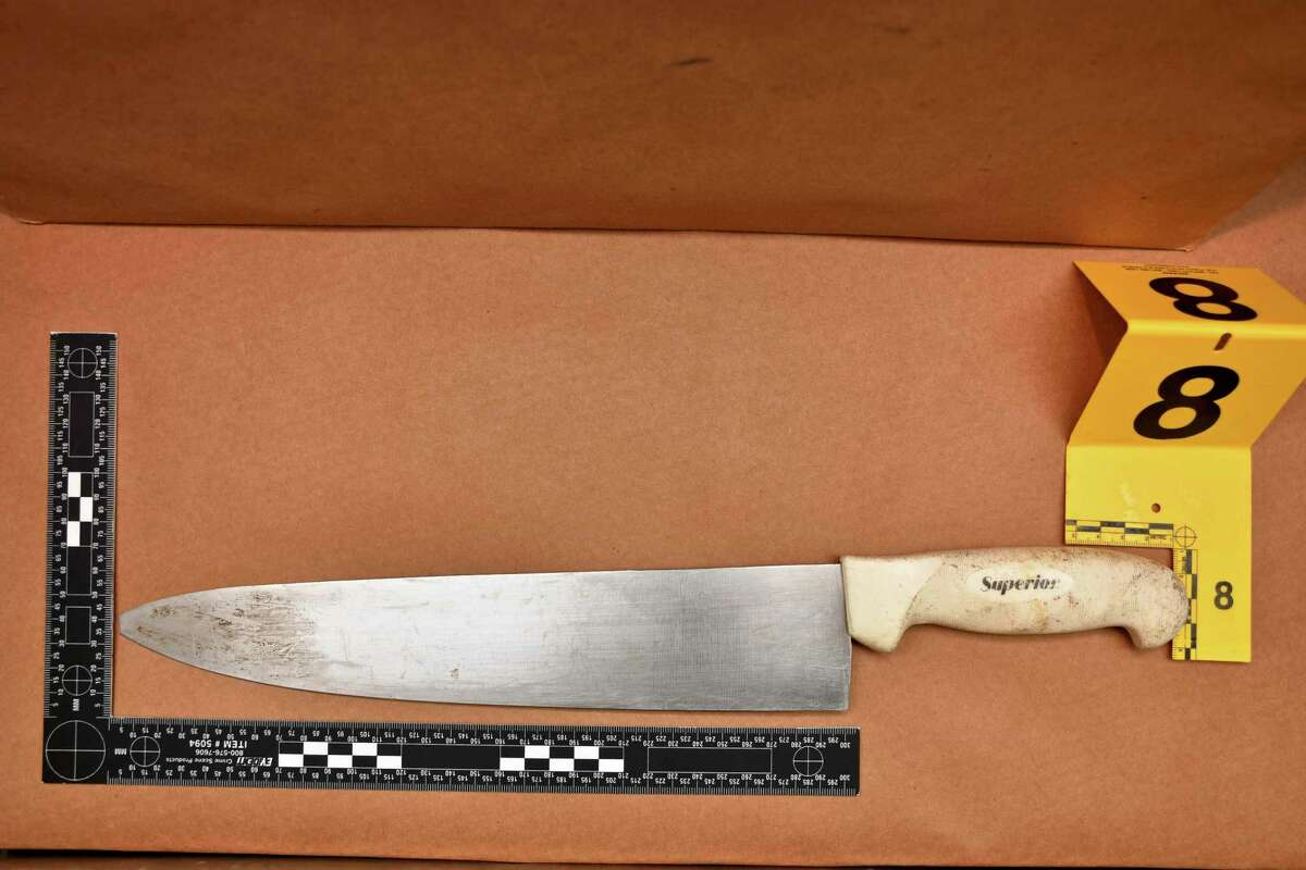Evidence photograph from the Connecticut State Police. Aaron Bouffard has been identified as the knife-wielding man shot by Danbury Police officer Alex Relyea Wednesday, July 3, 2019, in the area of Old Ridgebury and Reserve roads.