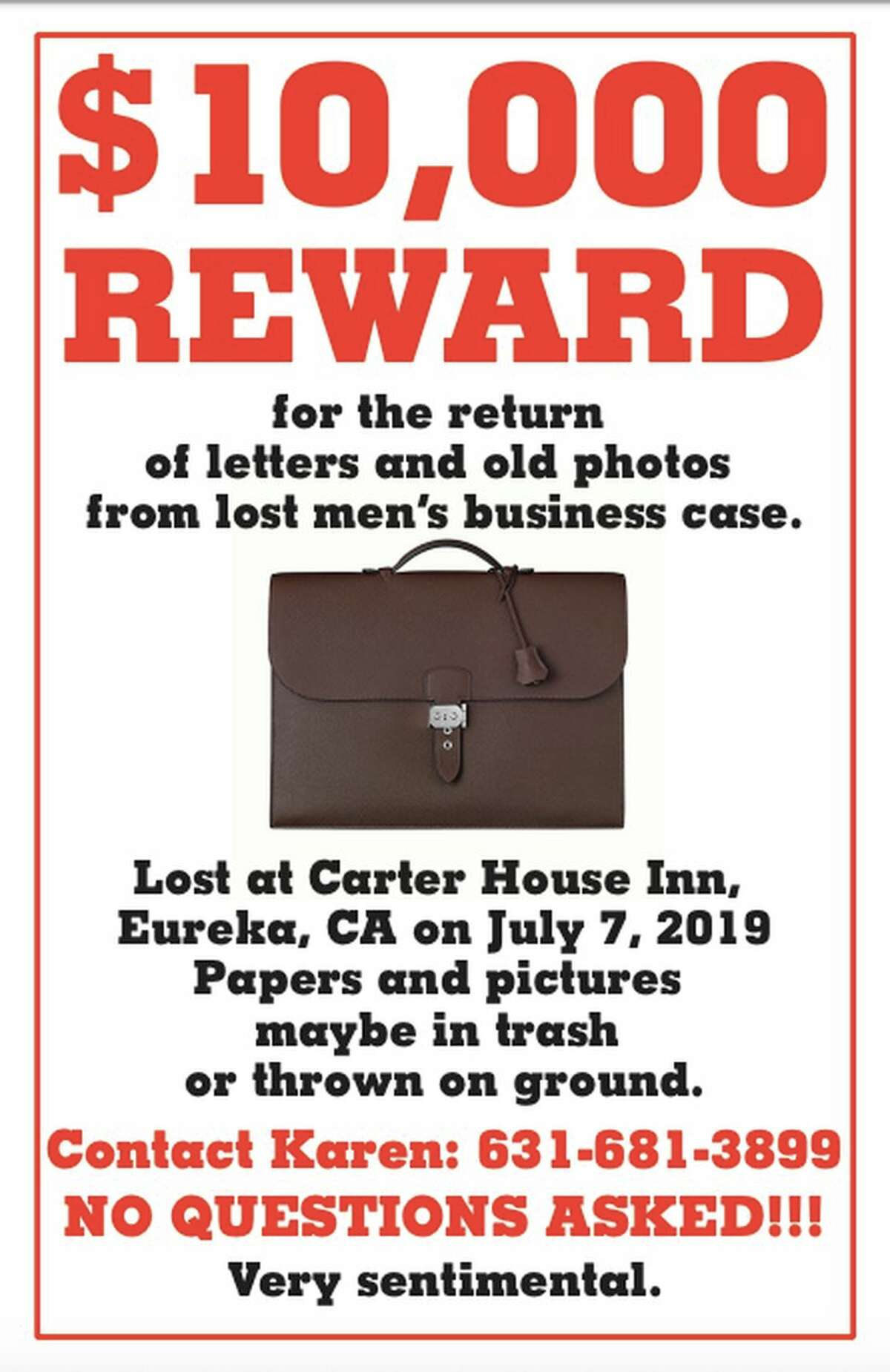 Michel David-Weill is seeking the return of his briefcase, which contains family photos and letters. It was taken from the Carter House Inn in Eureka on July 7, 2019.