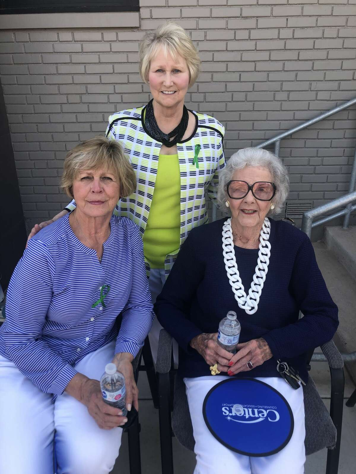 Centers courtyard: Ann Bradford, back, Donna Landreth, front left, and Carolyn Roden