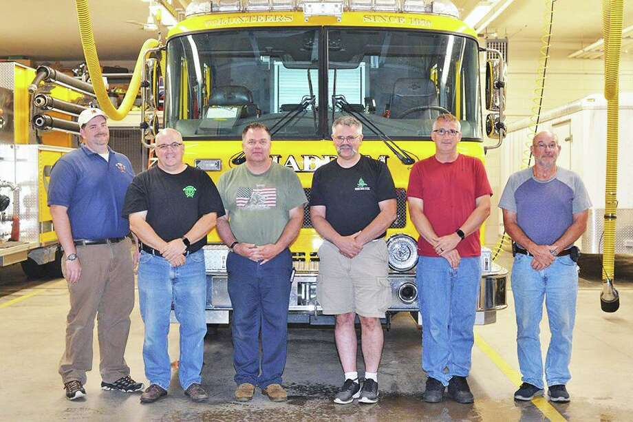 Haddam Volunteer Fire Co. recently welcomed new line officers, from left, Chief Sam Baber, Deputy Chief Peter Brown, Assistant Chief Jamie Kuchyt, Capts. Ed Adametz and Tony Lafo; and Lt. Richard Zanelli. Photo: Contributed Photo