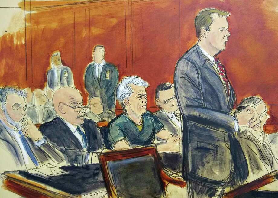 In this courtroom artist's sketch, defendant Jeffrey Epstein, center, listens as Assistant U.S. Attorney Alex Rossmiller, right, addresses the court during Epstein's arraignment, Monday, July 8, 2019 in New York. Epstein pleaded not guilty to federal sex trafficking charges. The 66-year-old is accused of creating and maintaining a network that allowed him to sexually exploit and abuse dozens of underage girls from 2002 to 2005. (Elizabeth Williams via AP) Photo: Elizabeth Williams / Associated Press / Copyright 2019 The Associated Press. All rights reserved.