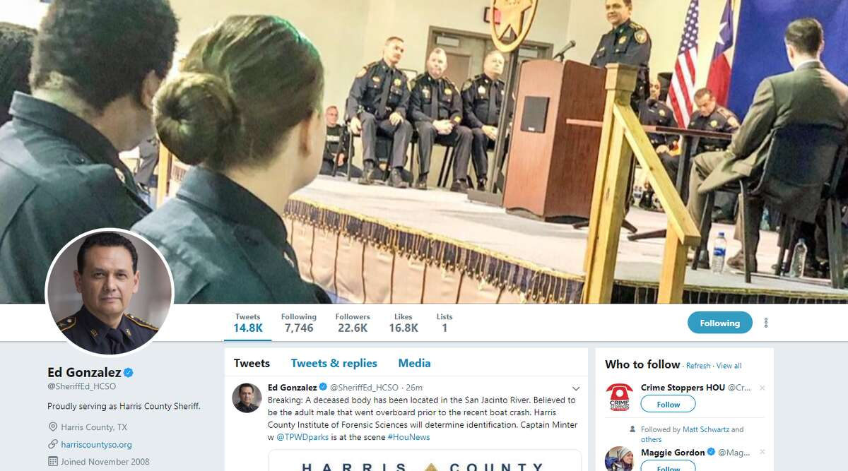 Ed Gonzalez (@SheriffEd_HCSO) Twitter - Harris County Sheriff who frequently tweets updates about criminal activity in the area.