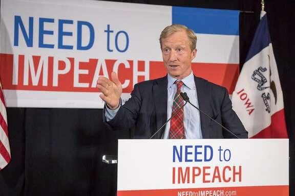 FILE-- Tom Steyer, the former hedge fund investor turned impeachment activist, during an event about his pursuit to impeach the president in Des Moines, Iowa, Jan. 9, 2019. Steyer announced on July 9, that he would challenge President Donald Trump in 2020, reversing a previous decision not to enter the race. In a video announcing his candidacy, Steyer positioned himself as a populist outsider, railing against corporate interests that he described as holding too much sway over the political system. (Rachel Mummey for The New York Times)