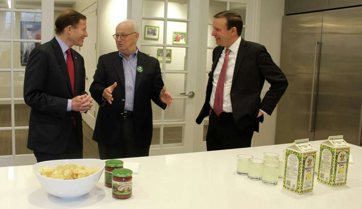 Senator Richard Blumenthal, Newman's Own Foundation President and CEO Bob Forrester, and Senator Chris Murphy met at the Newman's Own Foundation headquarters in Westport on Feb. 22 to celebrate passage of the Philanthropic Enterprise Act.