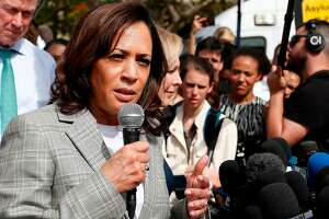 (FILES) In this file photo taken on June 28, 2019 Democratic presidential hopeful Kamala Harris addresses the media about migrant children in front of a detention center in Homestead, Florida. - Senator Kamala Harris has received a surge in support among Democrats following last week's US presidential candidate debate while former vice president Joe Biden has slipped, according to a poll published on July 2, 2019. Twenty percent of Democrats surveyed in the Quinnipiac University poll said they backed Harris, the junior senator from California, up from just seven percent in a June 11 Quinnipiac poll. (Photo by RHONA WISE / AFP)RHONA WISE/AFP/Getty Images