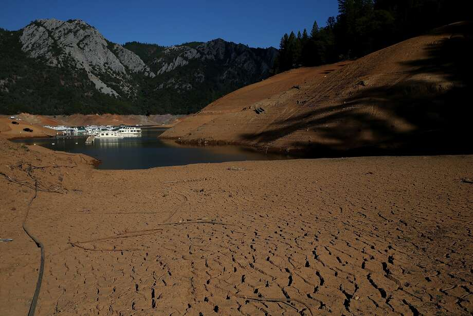 Lake Shasta during the 2014 drought in Lakehead, Calif. While California enjoyed wet years in 2017 and 2019, periods of drought are expected to return in coming years, according to climate models in a studyled by Scripps Institution of Oceanography at UC San Diego. Photo: Justin Sullivan/Getty Images / 2014 Getty Images
