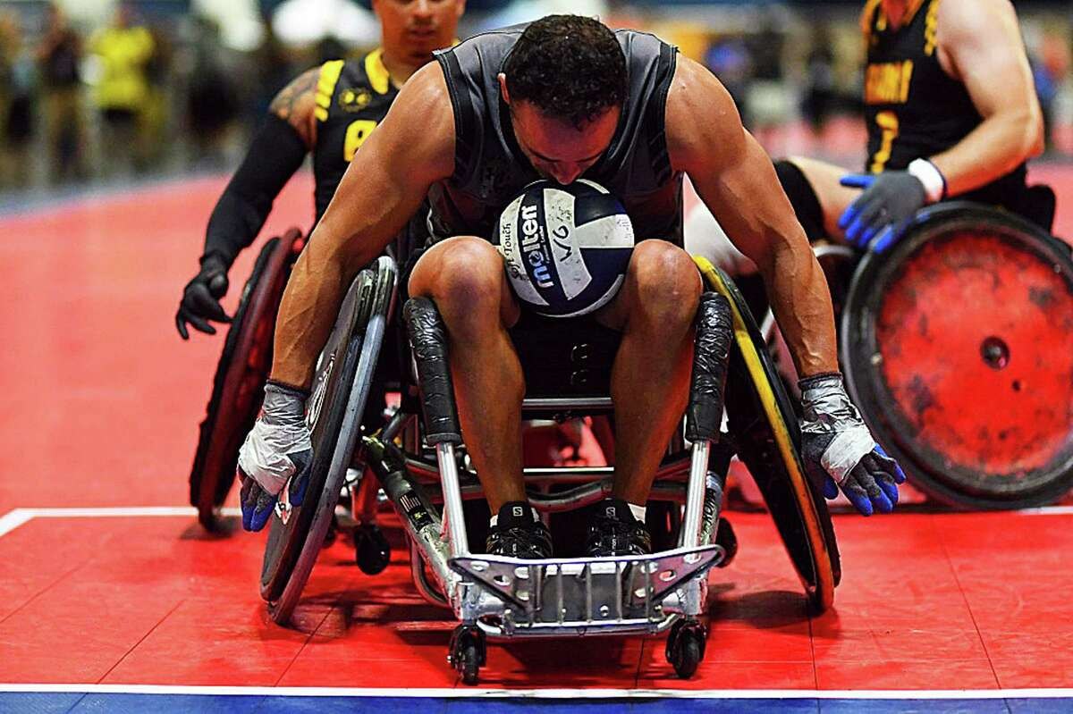 Team SOCOM Navy Veteran Lt. Isaiah Staley competes in wheelchair rugby during the 2019 DoD Warrior Games hosted in Tampa, Florida, on June 26. The 2019 DoD Warrior Games were comprised of more than 300 service member and veteran athletes who were wounded or ill, representing the U.S. Army, Marine Corps, Navy, Air Force, Special Operations Command, and five partner nations. San Antonio will host the games next year.