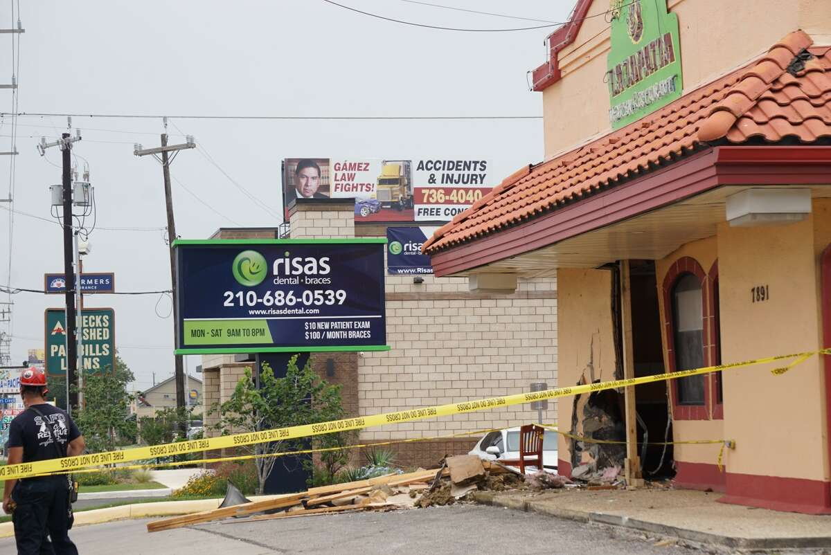 Three people were injured when an SUV crashed into a restaurant Tuesday afternoon on the West Side of San Antonio.