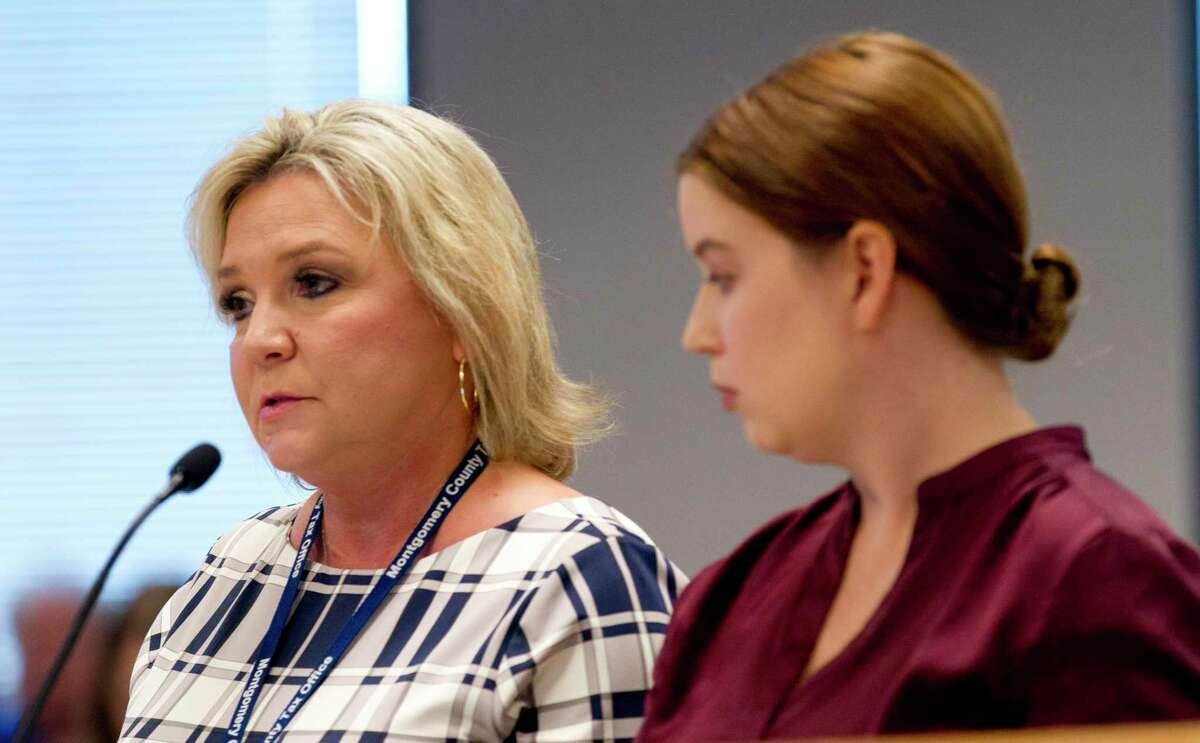 Montgomery County Tax Assessor Tammy McRae, left, addresses the county's effective tax rate beside Amanda Carter as Carter presents on the county's 2020 budget projection during a Montgomery County Commissioners Court meeting at the Alan B. Sadler Commissioners Court Building, Tuesday, July 9, 2019, in Conroe.