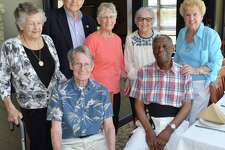 Classmates who were present included, from left to right, in front, Ray Barton and Philip Peagler, and in back, Dottie (Miller) Gustafson, Gen. Joe went, Barbara (Smith) Went, Irene (Christen) Stuart and Elaine Travers Zeitler.