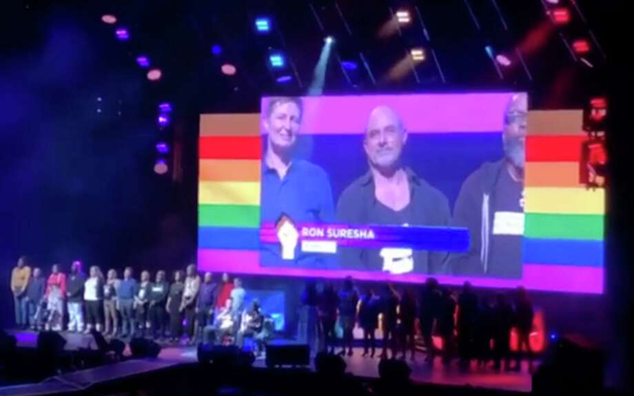 New Milford resident Ron Suresha was among those recently introduced on stage as part of the opening ceremony for World Pride New York City. Photo: Courtesy Of Cathy Renna / The News-Times Contributed