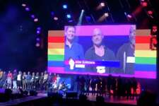 New Milford resident Ron Suresha was among those recently introduced on stage as part of the opening ceremony for World Pride New York City.