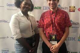 Marvelwood School in Kent has announced two Marvelwood Film Studies productions recently won awards at the Skills21 Film Fest held at the Oakdale Theatre in Wallingford. Above, Kyrie Mbonu and Owen Tacy of the class of 2020 accept the awards at the film fest.