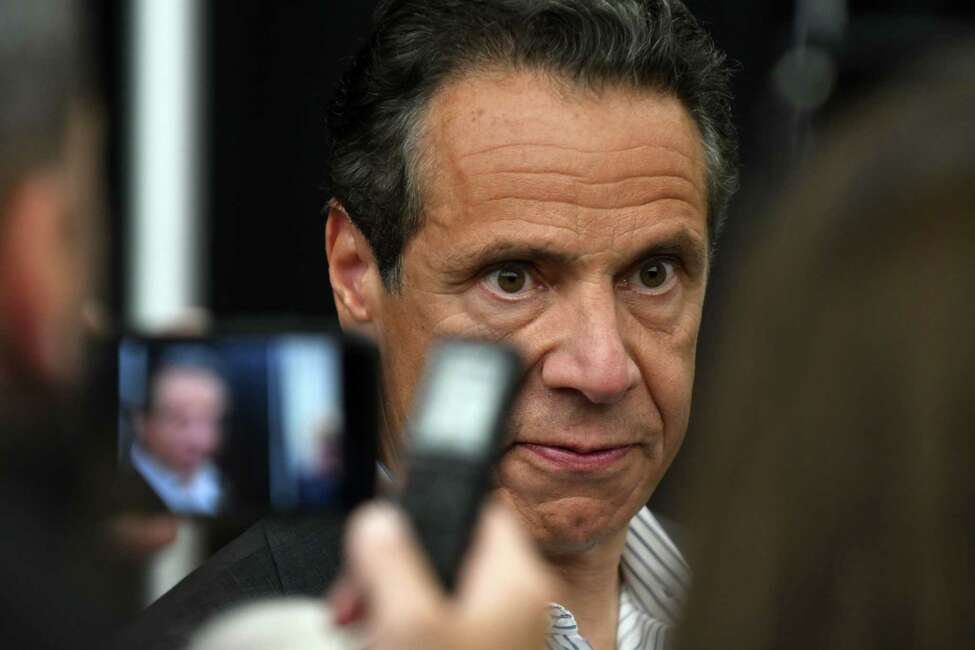 Gov. Andrew Cuomo speaks to the media following an announcement at Albany International Airport on Tuesday, July 9, 2019, in Colonie, N.Y. (Will Waldron/Times Union)