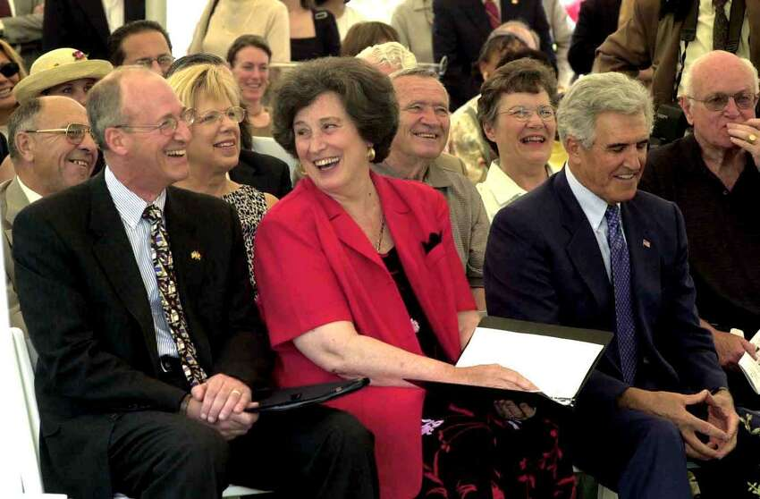 From left, Chancellor Robert King, UAlbany President Karen Hitchcock and Senate Majority Leader Joseph Bruno at the groundbreaking ceremony of a new cancer research building on the east campus of the University of Albany, Tuesday, June 24, 2003. (Times Union photo by STEVE JACOBS)
