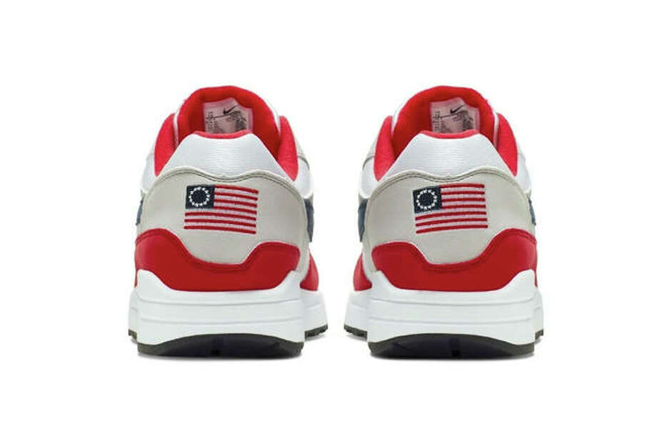 This undated product image obtained by the Associated Press shows Nike Air Max 1 Quick Strike Fourth of July shoes that have a U.S. flag with 13 white stars in a circle on it, known as the Betsy Ross flag, on them. Nike pulled the flag-themed tennis shoe after former NFL quarterback Colin Kaepernick complained to the shoemaker, according to the Wall Street Journal. (Nike via AP Photo)