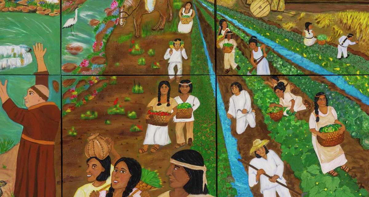 """""""South Side Pride,"""" a mural painted by students in an art class at the Elvira Cisneros Senior Center, includes a depiction of the area's agrarian past."""