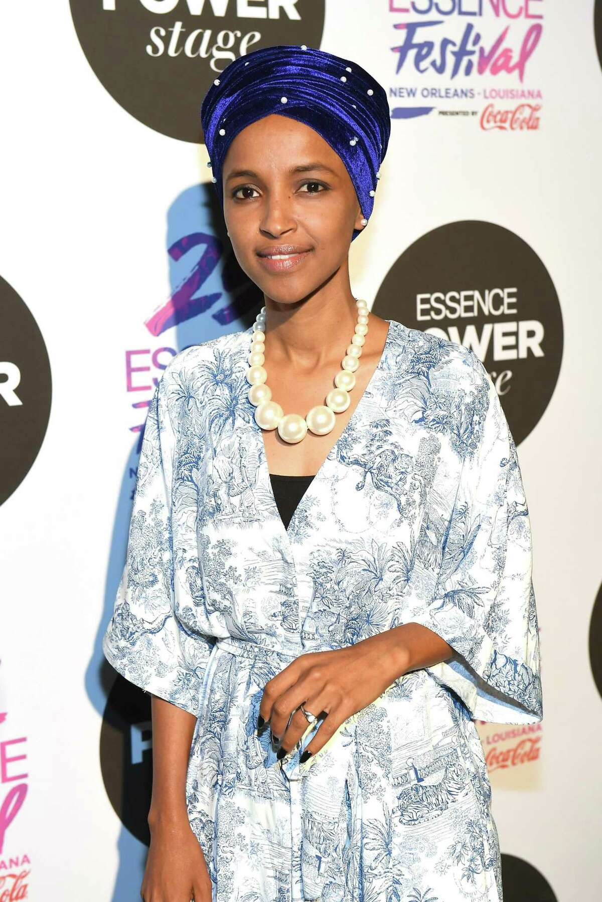Congresswoman Ilhan Omar speaks on stage at 2019 ESSENCE Festival Presented By Coca-Cola at Ernest N. Morial Convention Center on July 6 in New Orleans.